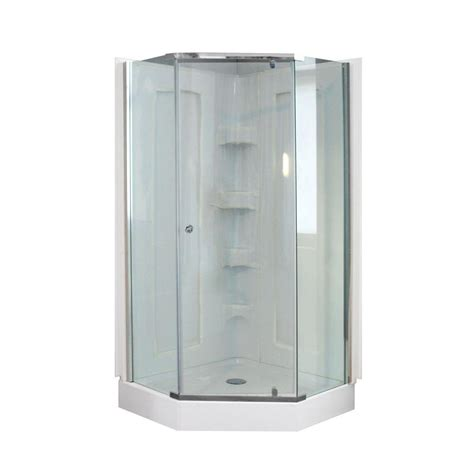 Shower Door Frame Kit Dreamwerks 38 In X 38 In X 78 In Neo Angle Mosaic Shower Kit With Polished Chrome Frame