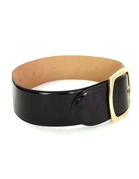 chanel black patent leather wide belt sz 85 for sale