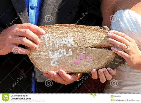 Wedding Holding Thank You Sign by Thank You Sign At Wedding Stock Photo Image Of