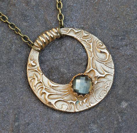 pyrite and quartz cabochon pendant in bronze unique