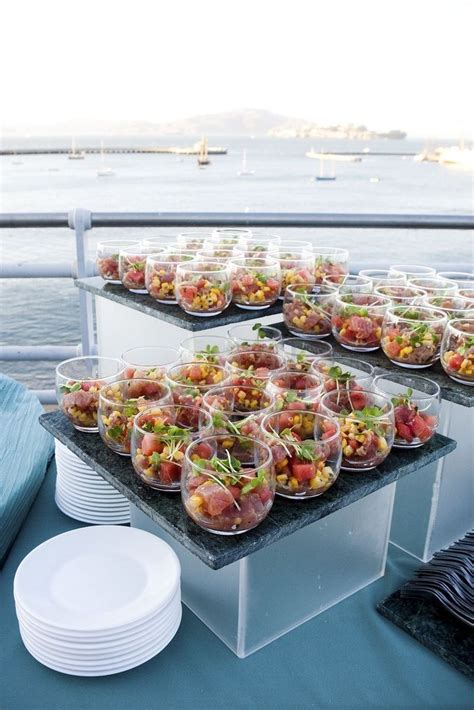 Food Display Bfd S buffet tile on acrylic box salad in a glass food plating presentations