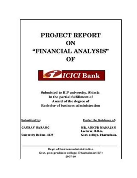 Project On Banking For Mba by Project Report On Financial Analysis Of Icici Bank By