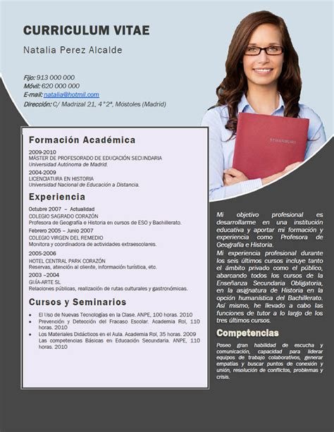 Plantillas De Curriculum Vitae Artistico Elaboraci 243 N Curriculum De Profesores Plantillas De Cv Para Enviar A Colegios Privados