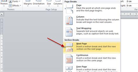 membuat halaman ms word 2010 cara membuat header microsoft word 2010 hanya di halaman