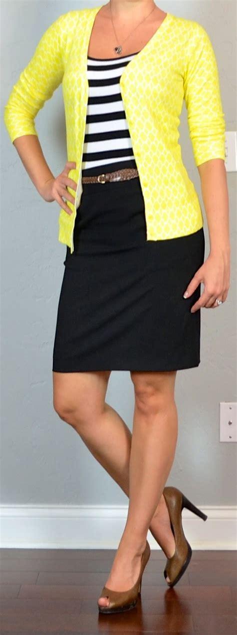post striped tank yellow cardigan black pencil