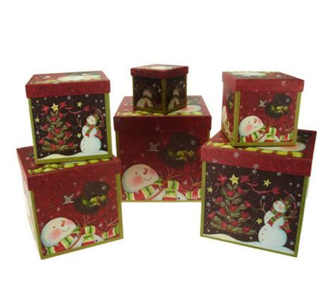 qvc christmas packaging susan winget set of 6 stacking boxes by valerie page 1 qvc