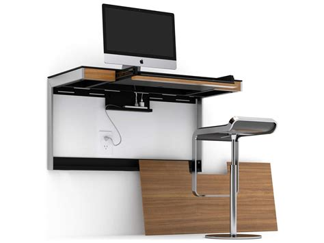 Mounted Computer Desk bdi sequel 45 x 20 rectangular walnut wall mounted computer desk 6004 wl