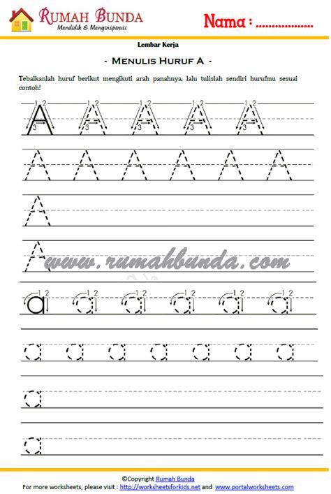 Belajar Menulis Berhitung Melalui Sc worksheet menulis huruf a b rumah bunda