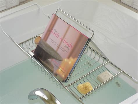 book holder for bathtub jumbo bath caddy with book rack transitional bathroom