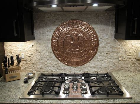kitchen backsplash metal medallions kitchen backsplash with copper medallion accent by jl