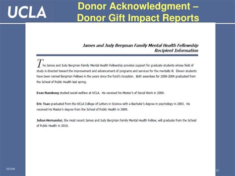 Donor Impact Report Template Ppt Fundamentals Of Gifts At Ucla March 9 2010