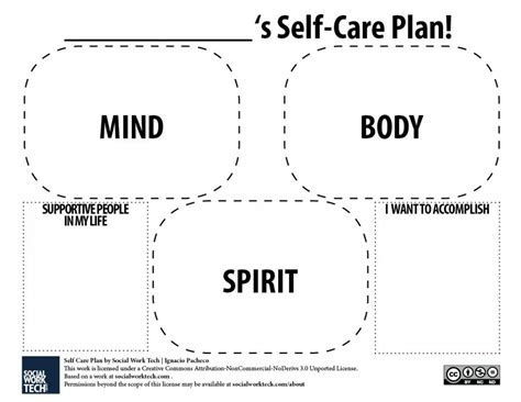 treatment plan template social work a self care plan template click for pdf version