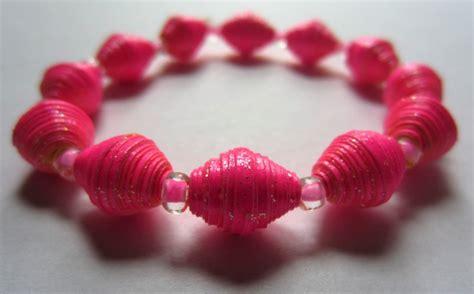 paper bead bracelets for sale fluorescent sparkly pink paper bead bracelet by