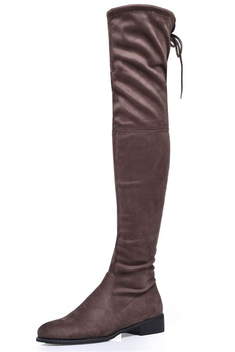 taupe the knee suede boots indigo footwear flat the knee boots in taupe