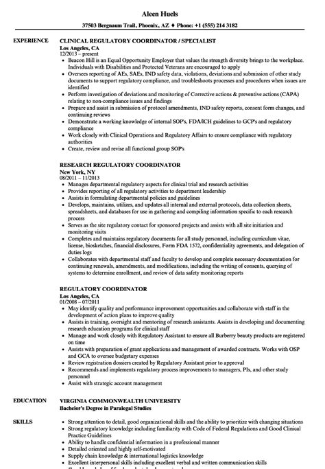 regulatory resume sle cv templates regulatory coordinator resume sles velvet
