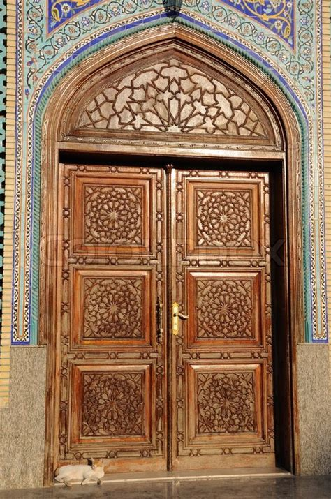 masjid door design door of a mosque in dubai united arab emirates stock
