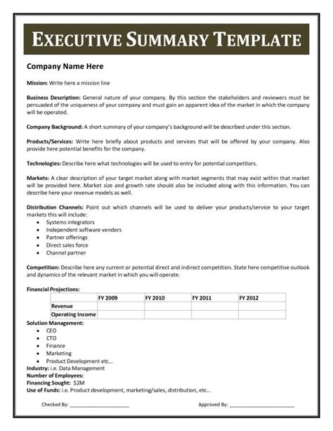 summary template executive summary template template business