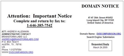 domain spam final notice  domain notification