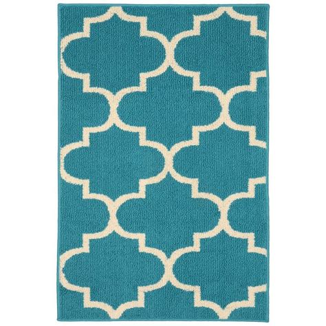 Quatrefoil Outdoor Rug Garland Rug Large Quatrefoil Teal Ivory 2 Ft 6 In X 3 Ft 10 In Accent Rug Ll240w030046f4
