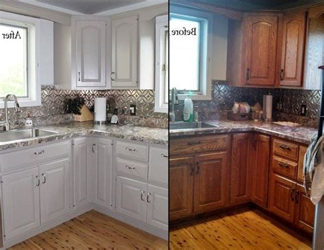 Updating Oak Kitchen Cabinets Before And After Painting Oak Kitchen Cabinets White Before And After