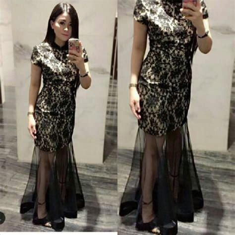 Mini Dress Kerah baju gaun dress cantik murah kerah shanghai model terbaru