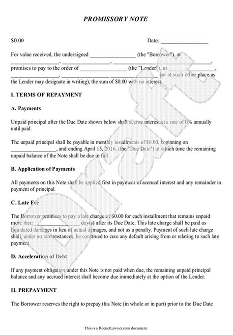 Promissory Note Template Form Can Be Customized And Edited Promissory Note Exles Templates
