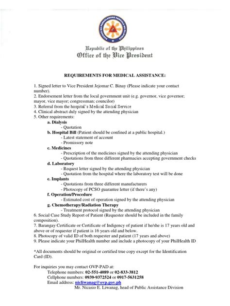 Guarantee Letter Pcso Requirements For Ovp Assistance