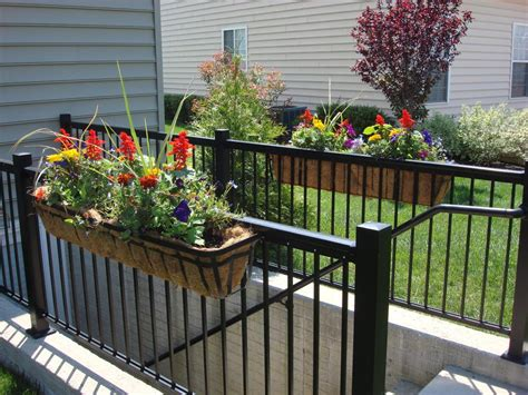 railing planter boxes deck rail planter container gardening
