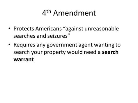 Which Amendment Requires A Warrant To Search Someone S Property The Bill Of Rights Ppt