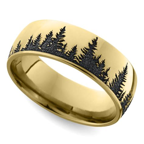 pattern gold wedding band laser carved forest pattern men s wedding ring in yellow gold