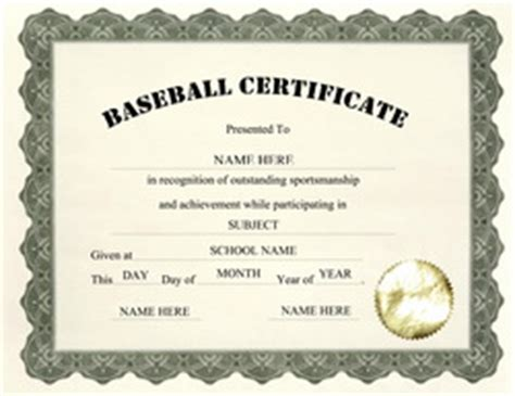 baseball certificate template free templates for middle school certificate templates
