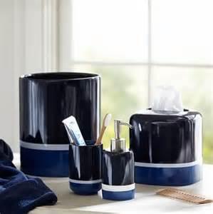 color block soap dispenser navy blue bathroom