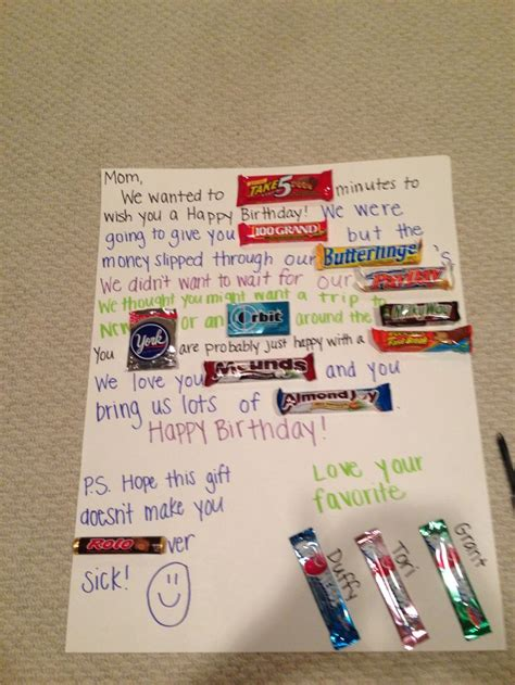 Gift Card Ideas For Mom - candy card for mom awesome ideas pinterest