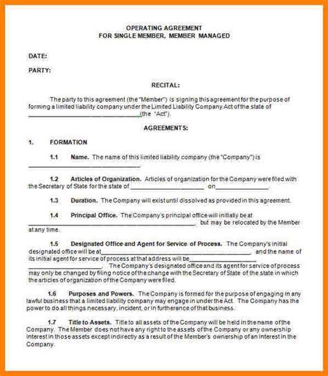 Llc Operating Agreement Single Member Llc Operating Agreement Indiana Template