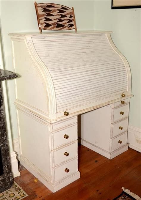 a shabby chic roll top desk white painted timber height 15
