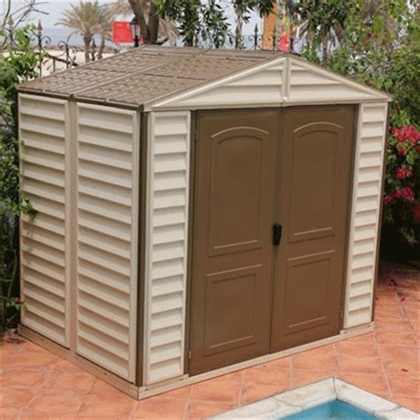 Cheap Plastic Sheds 8x6 by Woodside 8x6 Shed Cheap Duramax Woodside Vinyl Shed Prices Uk
