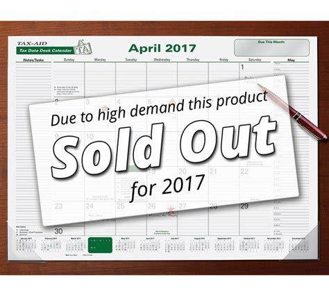 desk pad calendar 2017 sold out desk pad taxdate calendar 2017 item 44 471