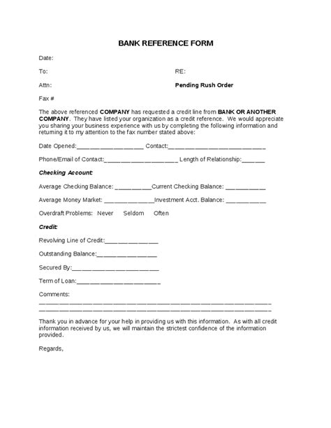 Reference Letter Template Bank Bank Reference Form Hashdoc
