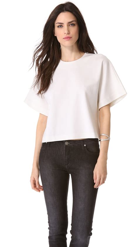 Victori Top beckham boxy cropped top in white lyst