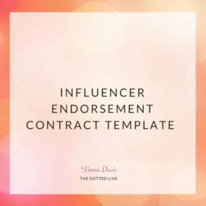 Influencer Endorsement Contract The Dotted Line Instagram Influencer Agreement Template