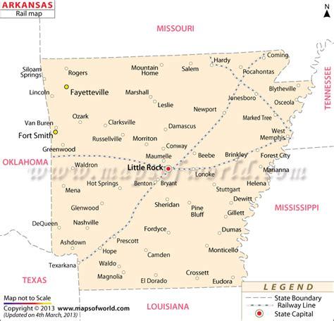 arkansas on map of usa arkansas railroad map routes of arkansas
