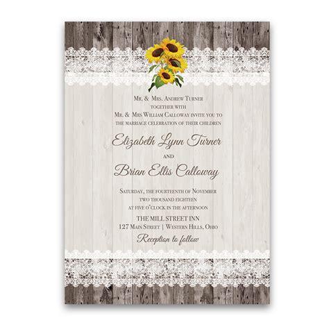Sunflower Wedding Invitations by Rustic Sunflower Wedding Invitations Barn Wood And Lace