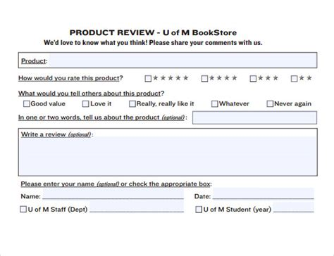 sample product review template 6 documents in pdf word