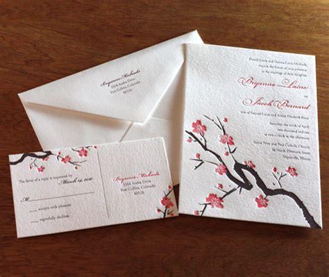 japanese cherry blossom wedding invitation invitations by ajalon s design letterpress