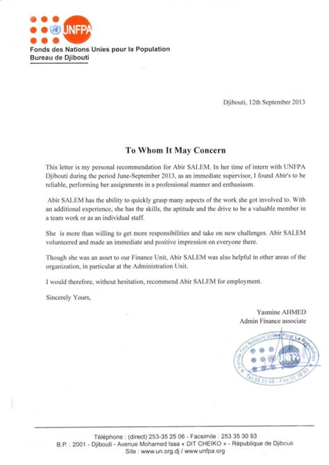 Exemple Lettre De Recommandation Lettre De Recommandation Anglais Fnuap