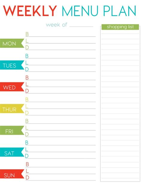 weekly menu template free free weekly menu planner printable