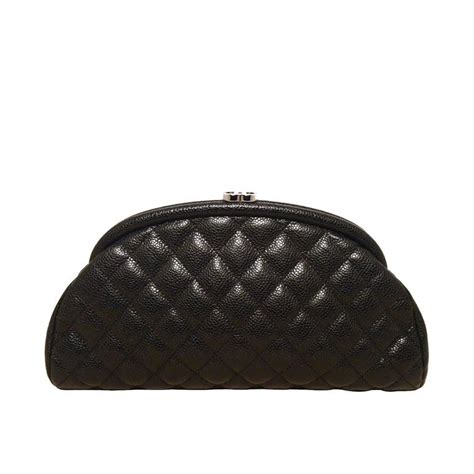 Chanel Clutch With Box 579 Ss Material Leather chanel black quilted caviar leather clutch for sale at 1stdibs