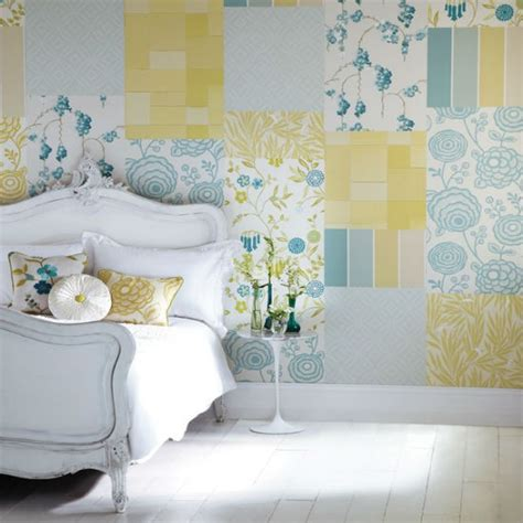wallpaper bedroom ideas create a patchwork feature wall bedroom wallpaper ideas