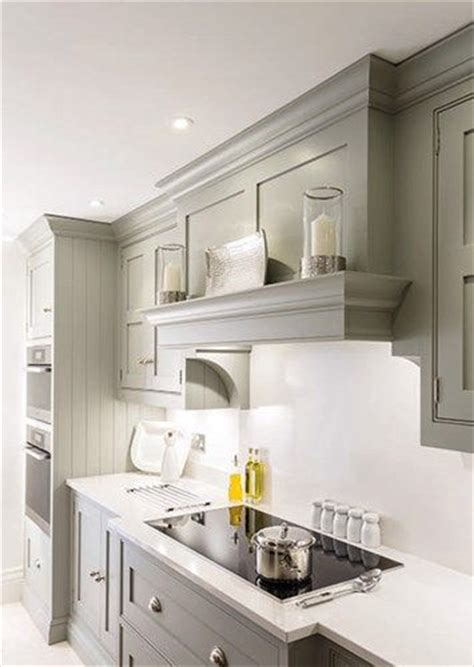 kitchen simple gray kitchen cabinets with nice drawers nice soft gray simple hood solution for a low ceiling