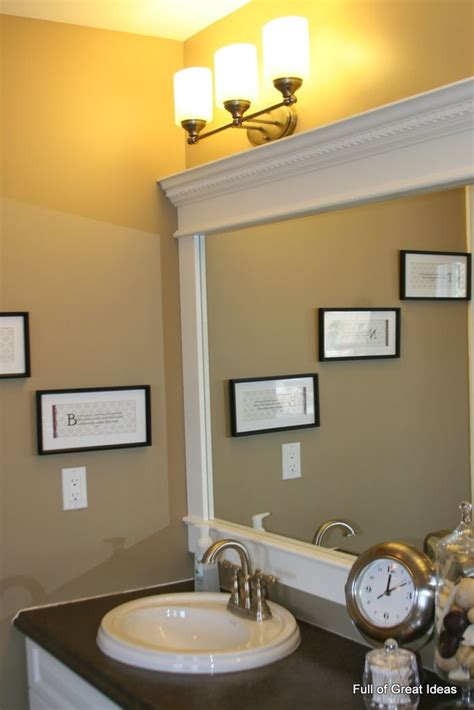 Trim Bathroom Mirror Inexpensive And Easy Way To Upgrade Your Plain Bathroom Mirror Use Mdf Trim And Crown Moulding